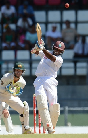 Shivnarine Chanderpaul drives down the ground and in the air, West Indies v Australia, 3rd Test, Roseau, 4th day, April 26, 2012