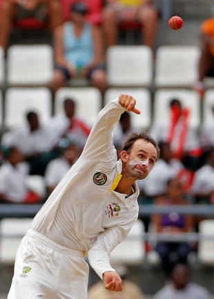 Nathan Lyon sends down a delivery, West Indies v Australia, 3rd Test, Roseau, 5th day, April 27, 2012