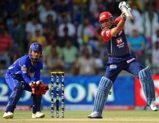 Virender Sehwag cuts during his half-century, Delhi Daredevils v Rajasthan Royals, IPL, Delhi, April 29, 2012