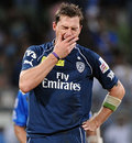 Dale Steyn yawns after getting Richard Levi first ball, Mumbai Indians v Deccan Chargers, IPL, Mumbai, April 29, 2012