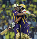 Debabrata Das and Laxmi Shukla celebrate Kolkata's win, Chennai Super Kings v Kolkata Knight Riders, IPL 2012, Chennai, April 30, 2012
