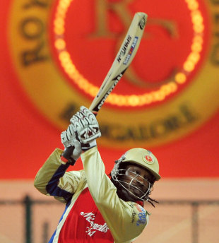 Chris Gayle provided plenty of entertainment again, Royal Challengers Bangalore v Kings XI Punjab, IPL, Bangalore, May 2, 2012