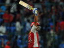 Piyush Chawla after hitting the winning six off the penultimate ball, Royal Challengers Bangalore v Kings XI Punjab, IPL, Bangalore, May 2, 2012