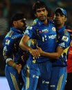 Munaf Patel defended 11 in the final over to earn a one-run win, Pune Warriors v Mumbai Indians, IPL, Pune, May 3, 2012