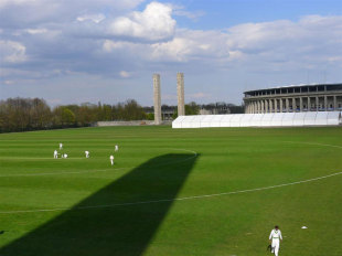 The Berlin Cricket Club plays at the Maifeld, which is next to the Olympic Stadium, Berlin