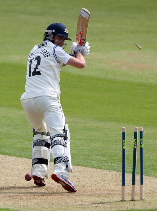 Richard Coughtrie is bowled for a duck by Azhar Mahmood, Kent v Gloucestershire, County Championship Division Two, 1st day, Canterbury, April 26, 2011