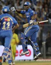 Dwayne Smith celebrates a last-ball finish, Mumbai Indians v Chennai Super Kings, IPL 2012, Mumbai, May 6, 2012
