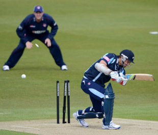 Phil Jaques is bowled first ball by Matt Coles, Yorkshire v Kent, CB40, Group C, Headingley, May 6, 2012