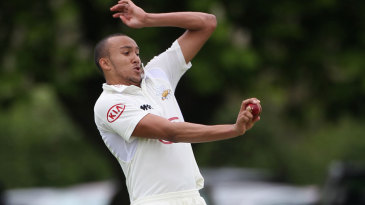 George Edwards bowls on his Championship debut