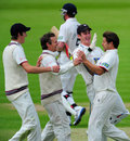Peter Trego celebrates with his team-mates after dismissing Paul Collingwood, Durham v Somerset, County Championship, Division One, 1st day, Chester-le-Street, May 9, 2012