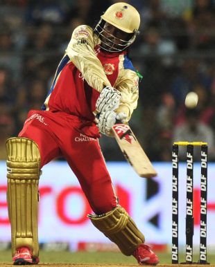 Chris Gayle smashes the ball through off-side, Mumbai Indians v Royal Challengers Bangalore, Mumbai, IPL, May 9, 2012
