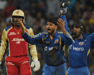 Harbhajan Singh appeals unsuccessfully for Chris Gayle's wicket, Mumbai Indians v Royal Challengers Bangalore, Mumbai, IPL, May 9, 2012