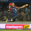 David Warner leaps in the air after scoring his second century in IPL