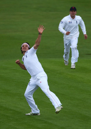 Jack Brooks celebrates after dismissing Adrian Barath, England Lions v West Indians, Tour Match, 1st day, Northampton, May 10, 2012