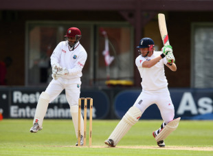 Jonny Bairstow cuts during his half-century, England Lions v West Indians, Tour Match, 2nd day, Northampton, May 11, 2012
