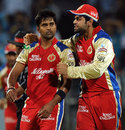 Vinay Kumar and Virat Kohli celebrate a wicket, Pune Warriors v Royal Challengers Bangalore, IPL, Pune, May 11, 2012
