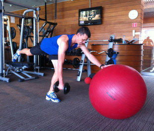 Functional exercise: Swiss ball dumbbell rows