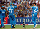 Jesse Ryder and Ashish Nehra celebrate the wicket of Shane Watson, Rajasthan Royals v Pune Warriors, IPL, Jaipur, May 13, 2012
