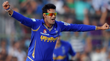 Ajit Chandila is ecstatic after claiming Robin Uthappa for his hat-trick