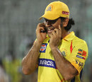 MS Dhoni talks on the phone, Chennai Super Kings v Delhi Daredevils, IPL, Chennai, May 12, 2012