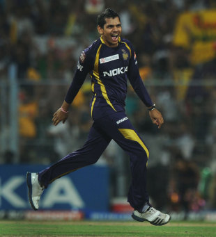 Sunil Narine was outstanding again, finishing with 2 for 14, Kolkata Knight Riders v Chennai Super Kings, IPL, Kolkata, May 14, 2012