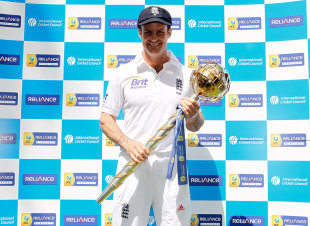 Andrew Strauss was presented with the Test mace for the No. 1 team, Lord's, May 16, 2012