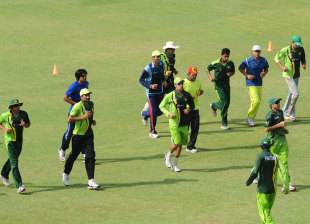 Pakistan players at a conditioning camp, Lahore, May 16, 2012