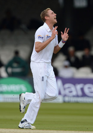 Stuart Broad claimed all five wickets to fall in the evening session, England v West Indies, 1st Test, Lord's, 1st day, May 17, 2012