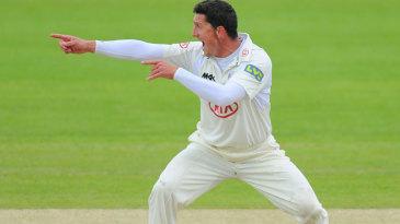 Veteran seamer Jon Lewis appeals for a wicket