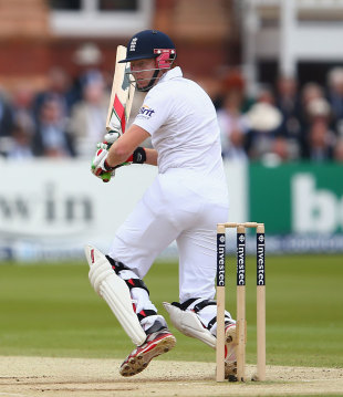 Jonny Bairstow collects runs off his hip, England v West Indies, 1st Test, Lord's, 3rd day, May 19, 2012