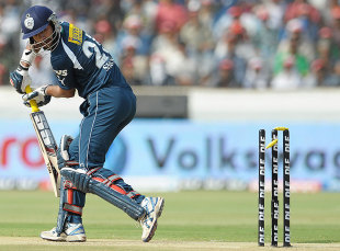 Shikhar Dhawan loses his off bail to Zaheer Khan, Deccan Chargers v Royal Challengers Bangalore, IPL, Hyderabad, May 20, 2012