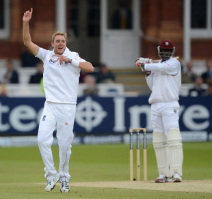 Stuart Broad claimed a few more landmarks with the ball, England v West Indies, 1st Test, Lord's, 4th day, May 20, 2012