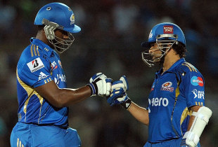 Dwayne Smith and Sachin Tendulkar during their 163-run stand, Rajasthan Royals v Mumbai Indians, IPL, Jaipur, May 20, 2012