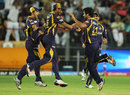 Knight Riders get together to celebrate a wicket, Delhi Daredevils v Kolkata Knight Riders, 1st qualifier, IPL 2012, Pune, May 22, 2012