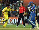 Shadab Jakati celebrates Sachin Tendulkar's run out, Mumbai Indians v Chennai Super Kings, Eliminator, IPL 2012, Bangalore, May 23, 2012