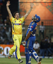 Albie Morkel celebrates the fall of Rohit Sharma