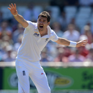 James Anderson appeals for a wicket, England v West Indies, 2nd Test, Trent Bridge, 1st day, May 25, 2012