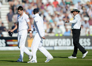 Aleem Dar has a word with James Anderson, England v West Indies, 2nd Test, Trent Bridge, 1st day, May 25, 2012