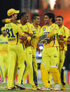 Super Kings get together after a wicket, Delhi Daredevils v Chennai Super Kings, 2nd eliminator, IPL 2012, Chennai, May 25, 2012