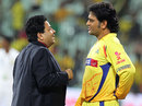 MS Dhoni talks to IPL chairman Rajiv Shukla, Delhi Daredevils v Chennai Super Kings, 2nd eliminator, IPL 2012, Chennai, May 25, 2012