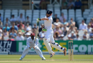 Jonny Bairstow fends off a short ball during his brief stay, England v West Indies, 2nd Test, Trent Bridge, 3rd day, May 27, 2012