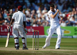 James Anderson picked up his second wicket with the dismissal of Adrian Barath, England v West Indies, 2nd Test, Trent Bridge, 3rd day, May 27, 2012