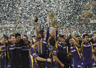 A jubilant Kolkata Knight Riders with the IPL trophy, Kolkata Knight Riders v Chennai Super Kings, IPL 2012, final, Chennai, May 27, 2012