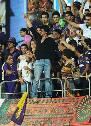 Kolkata Knight Riders team owner Shahrukh Khan celebrates after his team's win, Kolkata Knight Riders v Chennai Super Kings, IPL 2012, final, Chennai, May 27, 2012