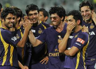 Shahrukh Khan celebrates with the Kolkata Knight Riders team, Kolkata Knight Riders v Chennai Super Kings, IPL 2012, final, Chennai, May 27, 2012