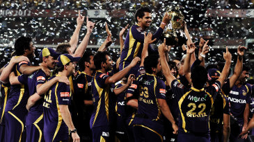 Sunil Narine, the Player of the Tournament, is carried by his team-mates