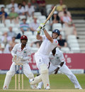 Andrew Strauss uses his feet as England chase down the target, England v West Indies, 2nd Test, Trent Bridge, 4th day, May 28, 2012