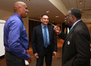 Ian Bishop, Ravi Shastri and Clive Lloyd chat before the ICC cricket committee meeting