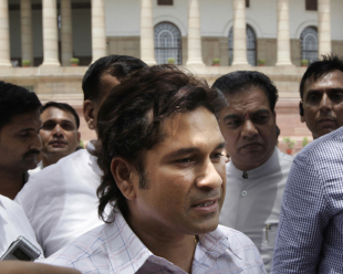 Sachin Tendulkar speaks to the media after swearing-in as an MP, New Delhi, June 4, 2012