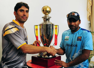 Misbah-ul-Haq and Mahela Jayawardene at the one-day series' trophy unveiling, Pallekele, June 6, 2012